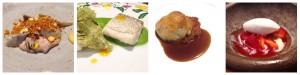 Alcachofas, royal de foie, maíz & migas crujientes / Merluza de Burela con crema de espinacas, albahaca & gel de fruta de la pasión / Rabo de toro hojaldrado, su jugo & puré de calabaza / Fresas, chiles dulces & helado de bergamota.